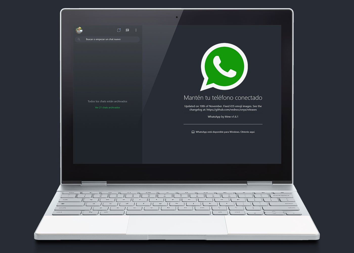 WhatsApp Web, dunkles Thema